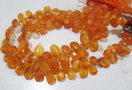 Natural Carnelian Pear Shape Briolette Beads