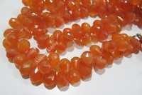 Carnelian Teardrop Shape Briolette Beads