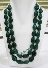 Emerald Flat Drop Double Layered Necklace