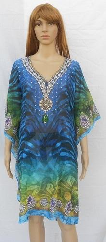 pure silk digital printed eveningwear long embellished kaftan