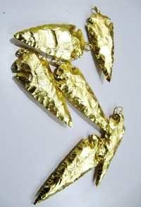 Gold Dipped Jasper Arrowhead Pendant