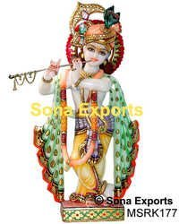 Exquisite Krishna Statue From Marble 15 Inch