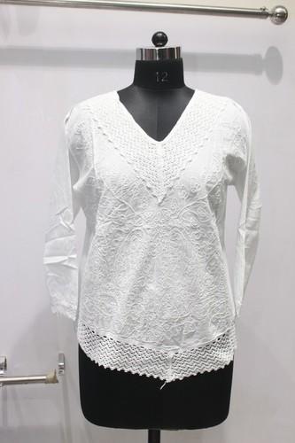 Women Cotton Makdi Jaal Short Kurti