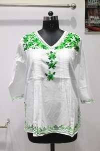 12 panel Green Embroidered Kurti