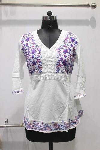 Purple Embriodery 100% Cotton Kurti