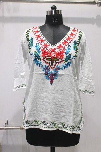 Embriodered White Designer Kurti