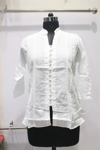 100% Cotton Button White Kurti