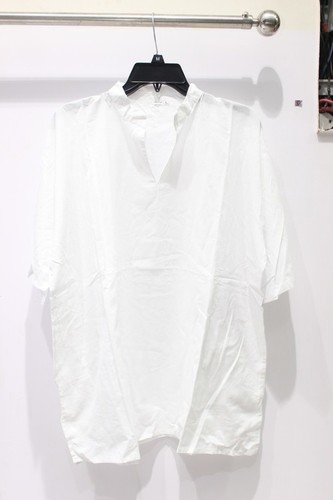 Half Sleeves 100% Cotton White Mens Kurta