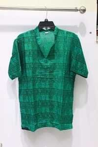 Half Sleeves 100% Cotton Om Mens Kurta