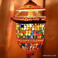 Golden Hanging Lamp Hanging Kandil Lamp Green Nazar