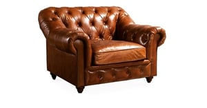 Rolled Arm Chesterfield Leather Chair