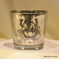SILVER CANDLE HOLDER,GLASS MOSAIC CANDLE HOLDER