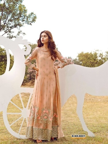 Peach Embroidered Long Suit Supplier in Delhi