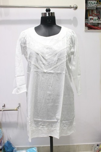 100% Cotton  Plain White Ladies Kurti