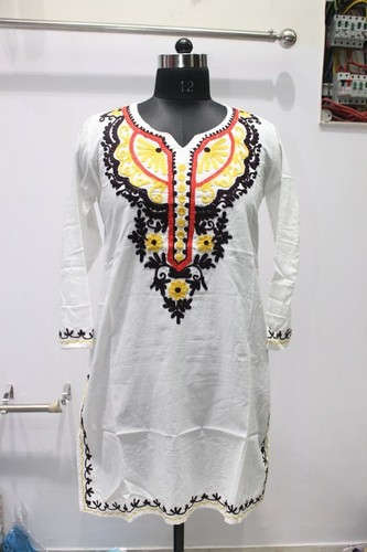 100% Cotton White Designer Kurti