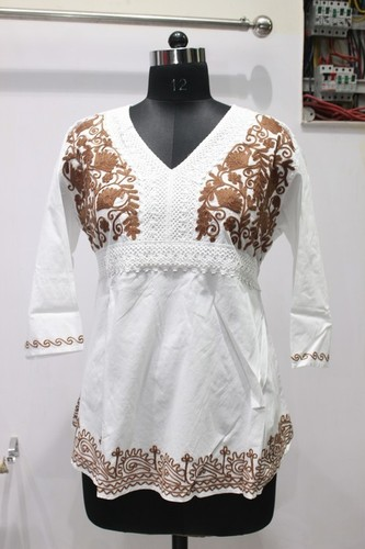 Brown Embriodery White kurti Ladies Top
