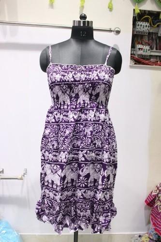 ladies Strip Hathi Print Long Dress