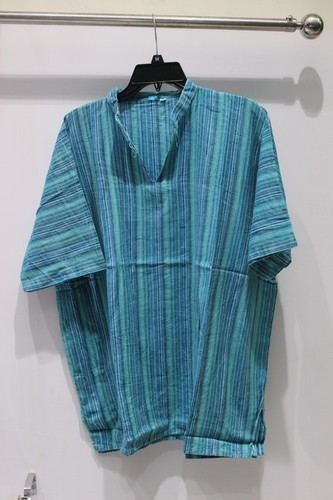 Half Sleeves 100% Cotton Stripes Mens Kurta