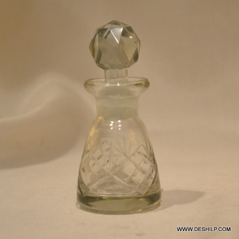 GLASS PERFUME BOTTLE AND DECANTER