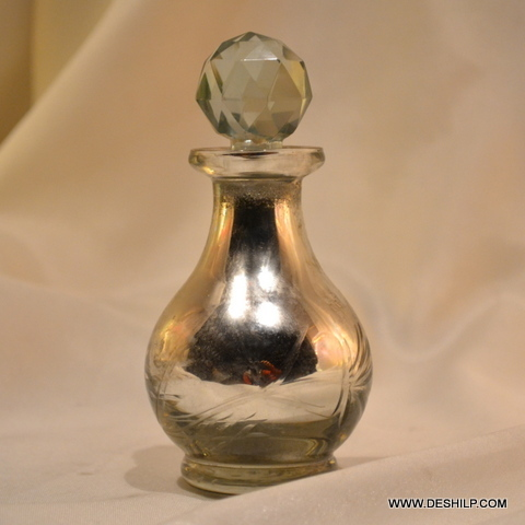 SILVER PERFUME BOTTLE, SCENT BOTTLE,GLASS PERFUME BOTTLE