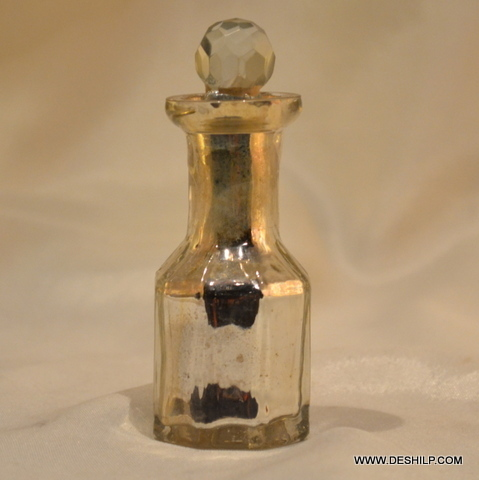 SILVER GLASS PERFUME BOTTLE GOLDEN COLOR