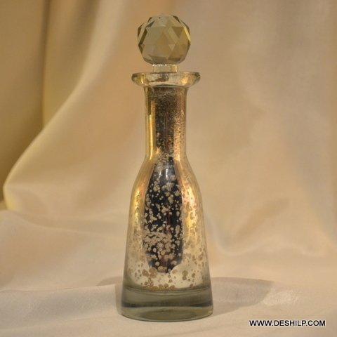 PERFUME BOTTLE SILVER EATCHING, VINTAGE PERFUME BOTTLE AND DECANTER