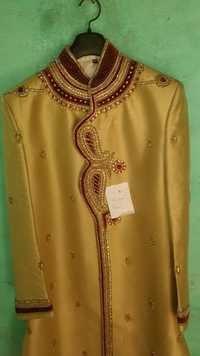 Golden & maroon collar work sherwani
