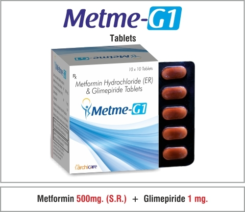 Metformin  500mg(SR)+Glimepiride  1mg