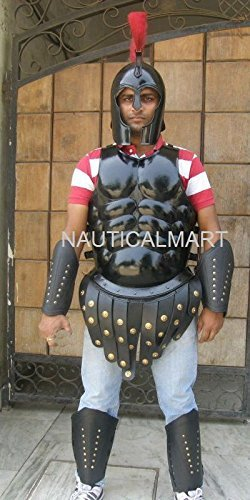 Roman Muscle Armor cuirass with Greek Spartan helmet