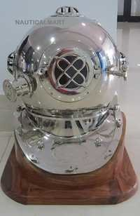 NAUTICALMART CHROME FINISH MARK V US NAVY SCUBA DIVING DEEP SEA DIVERS HELMET