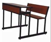 Industrial Wooden School Bench