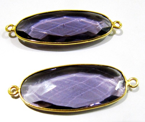 Amethyst Oval Shape Connector