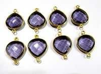 Amethyst Heart Shape Connector