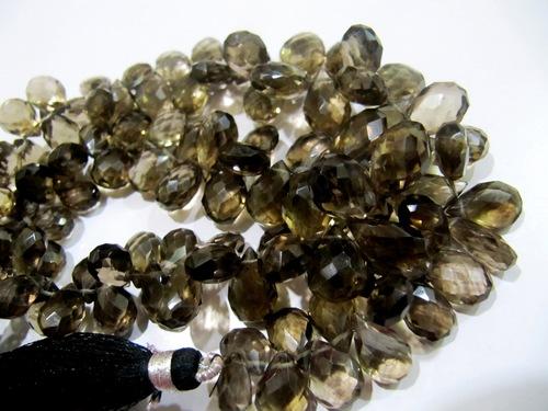 Natural Smoky Quartz Flat Drop Beads