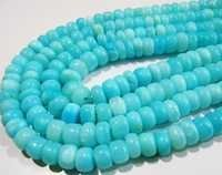 Natural Blue Opal Rondelle Plain Beads