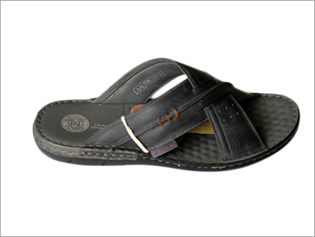 Men's Black Casual Leather Slippers