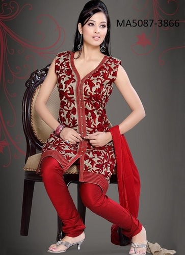 Maroon Art Silk Salwar Suit