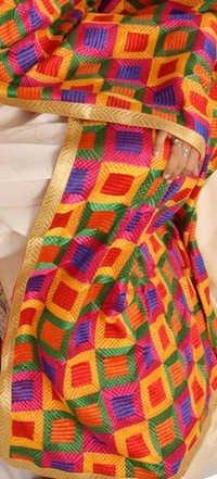 Multicolor Phulkari Semi Georgette Dupatta