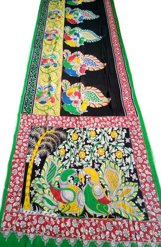 1da40728381f8 Multicolor Hand Painted Kalamkari Cotton Saree Exporter ...