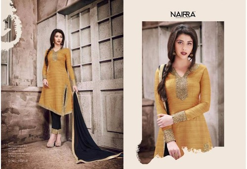 SILK FABRICS SUITS WITH NAZMIN CHIFFON DUPATTA WITH WORK NAIRRA MUSTARD