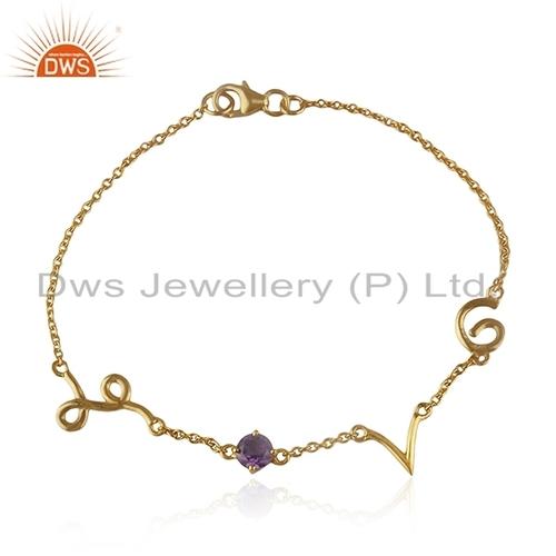 Silver Gold Plated Lover Bracelet