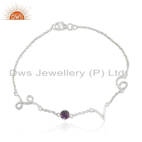 Amethyst Sterling Silver Love Bracelet