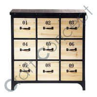 CD/DVD STORAGE BLACK WOODEN WITH IRON TV CABINET