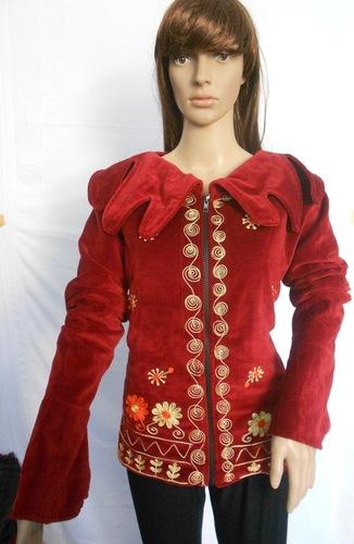 Velvet Embroidered Bomber Jacket