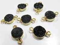 AAA Quality Natural Black Druzy Round Connector