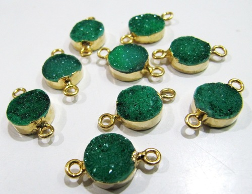 AAA Quality Natural Green Druzy Round Connector