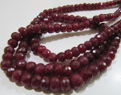 Ruby Corundum Round Faceted Beads