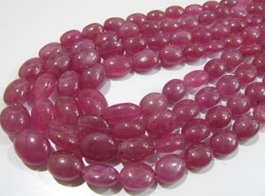 AAA Quality Natural Ruby Plain Oval Beads