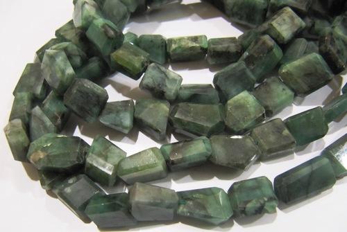 Natural Emerald Laser Cut Nugget Beads