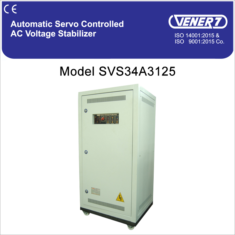 125kVA Automatic Servo Controlled Air Cooled Voltage Stabilizer